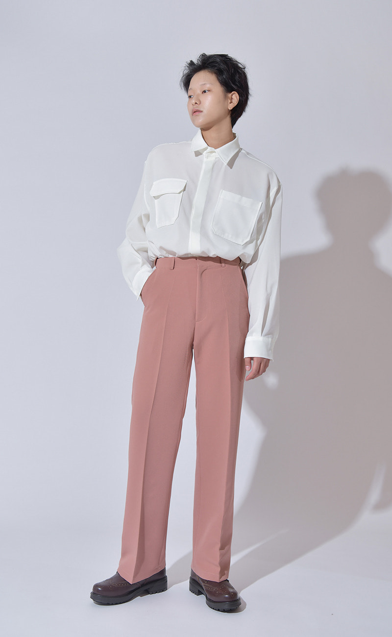 [여남공용] Set-up suit slacks / pink