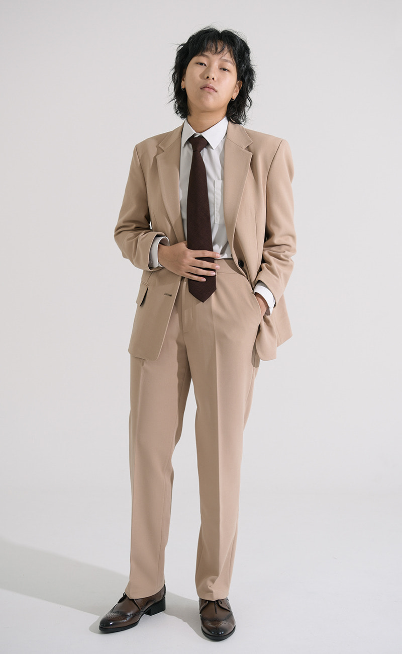 Beige Tapered-Fit slacks