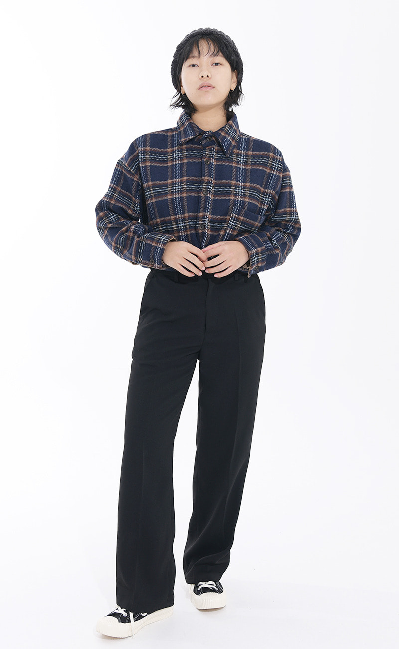 [기모원단] 로메 Winter check NB / navy