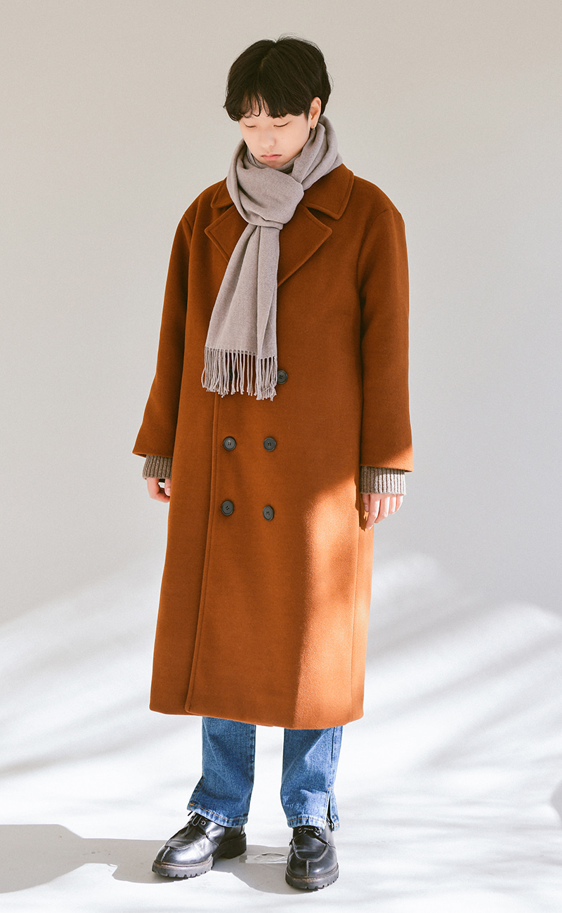 WOOL double long coat / camel